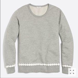 J. Crew Gray White Pom Pom Trim Sweatshirt Top